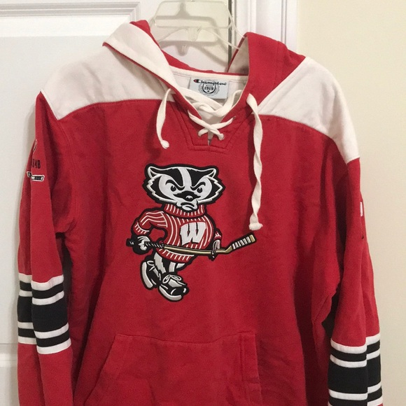 330206e886a9 Champion Shirts | Mens University Of Wisconsin L Red Hockey Hoodie ...